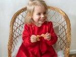 Sukienka świąteczna z długim rękawem czerwona